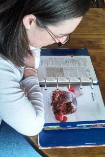 The author studying her favorite topic (desserts).
