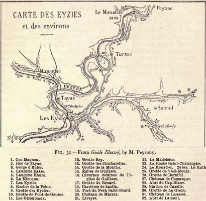 Sites of Les Eyzies (M. Peyrony, in Munro 1912)