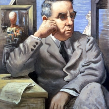 Portrait of Dr. Albert C. Barnes painted by Giorgio de Chirico, 1926.