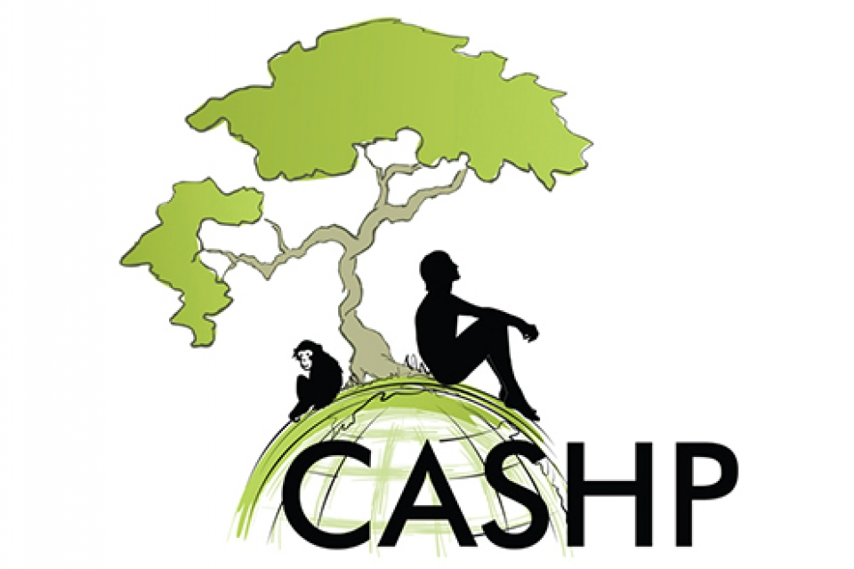 logo of a man and a chimpanzee under a tree, text reads CASHP