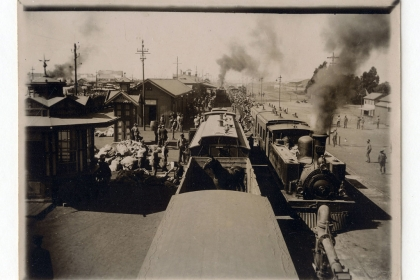 Old photo of a train leaving Elandsfontein after the Boer War